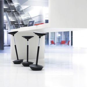 contemporary bar stool / leather / steel / textile