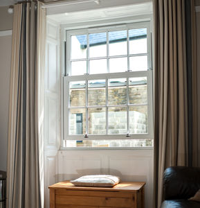 sash window / PVC / double-glazed / security