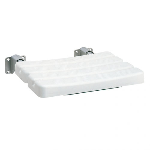 folding shower seat / wall-mounted / polyethylene / stainless steel