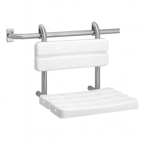 fixed shower seat / hanging / plastic / stainless steel