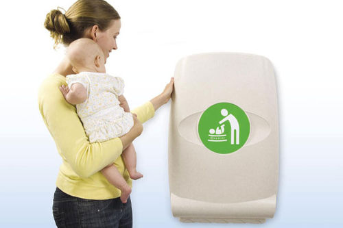 polyethylene (PE) diaper changing station / wall-mounted / commercial