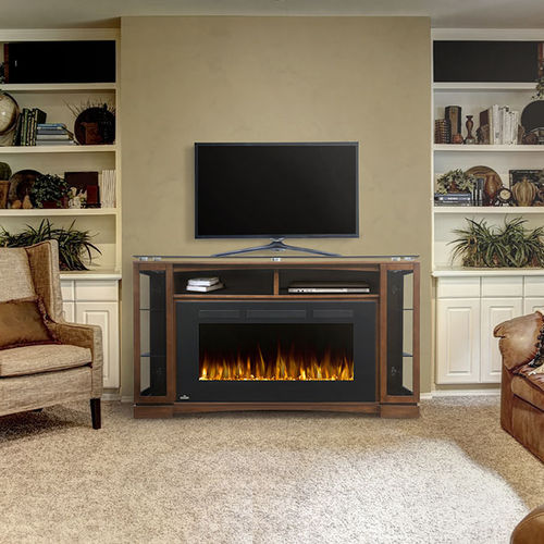 electric fireplace / contemporary / closed hearth / free-standing