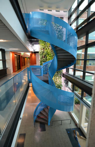metal railing / perforated sheet metal / indoor / for stairs
