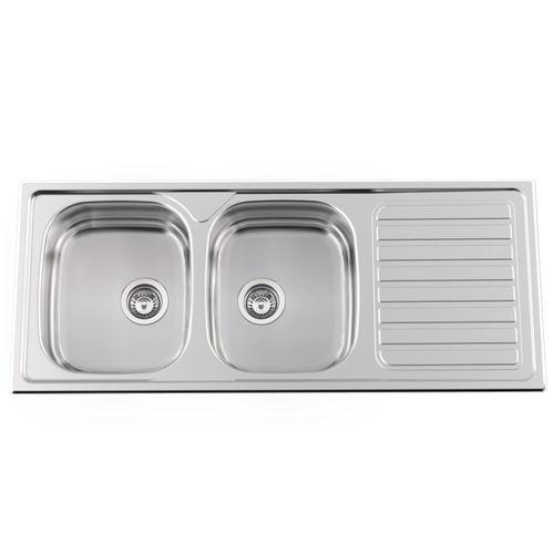 Double Kitchen Sink Okio Line 120 Rodi Sinks Stainless Steel Polished Stainless Steel Overmount
