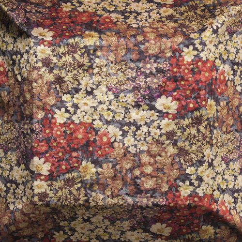 upholstery fabric / floral / polyester / cotton