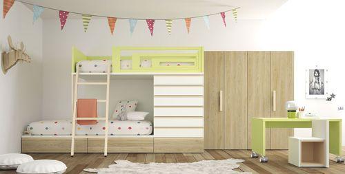 white children's bedroom furniture set / green / wooden / unisex