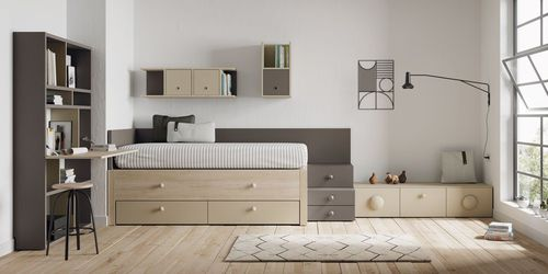 lacquered wood children's bedroom furniture set / unisex
