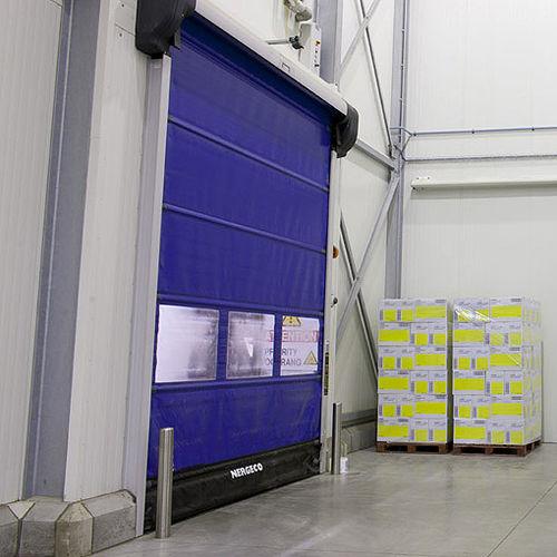 folding industrial door / composite / PVC / automatic