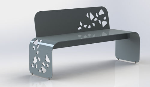 public bench / original design / aluminum / with backrest