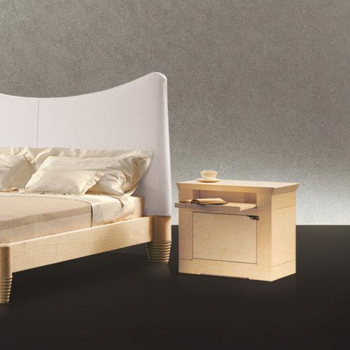 contemporary bedside table / walnut / maple / rectangular