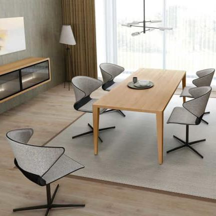contemporary dining chair / upholstered / central base / fabric
