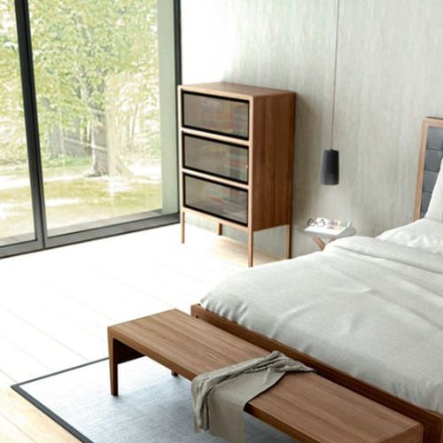 contemporary chest of drawers / oak / glass