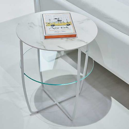 contemporary bedside table / metal / glass / round