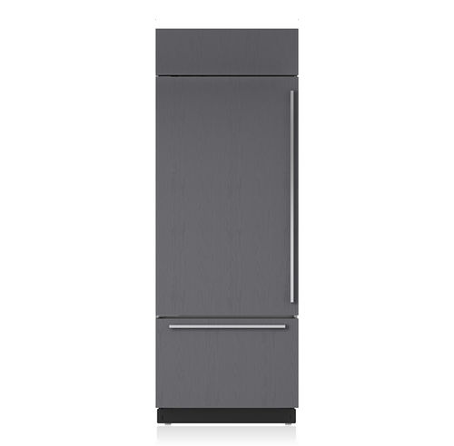 refrigerator-freezer with drawer / gray / built-in / bottom freezer