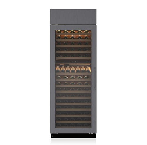 built-in wine cabinet / stainless steel / glazed / electric