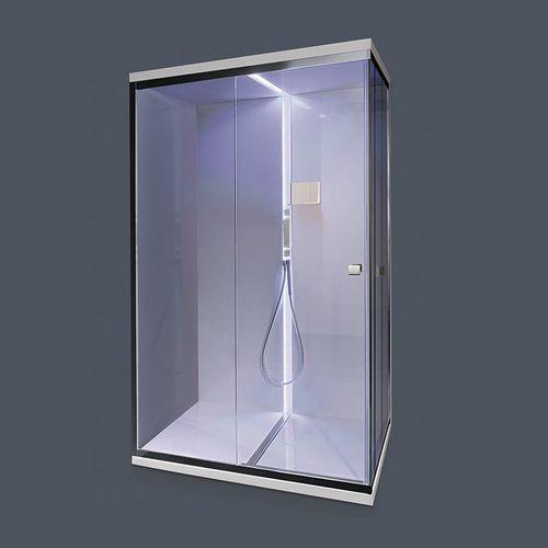 multi-function shower cubicle / glass / chrome / rectangular