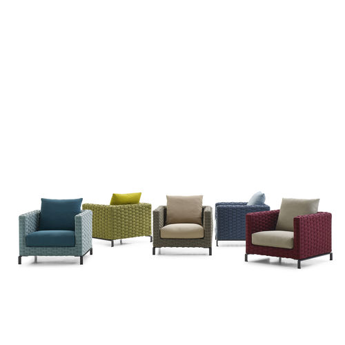 contemporary armchair / fabric / synthetic fiber / with removable cushion