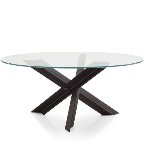 contemporary table / steel / stainless steel / steel base