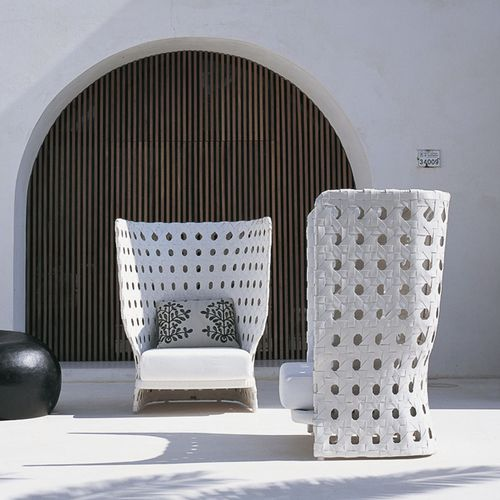contemporary armchair / fabric / polyethylene / high-back