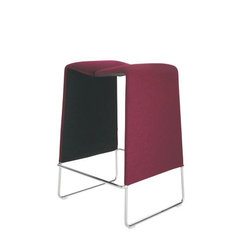 contemporary bar stool / leather / steel / fabric