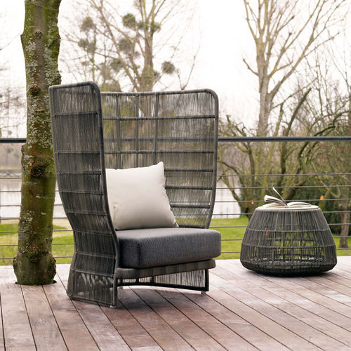 contemporary armchair / synthetic fiber / fabric / high back