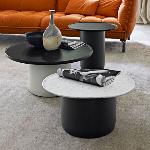 contemporary side table / marble / MDF / round