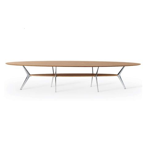 contemporary coffee table / oak / MDF / marble