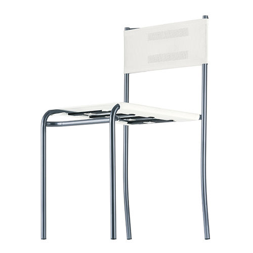 contemporary chair / stackable / mesh / brushed stainless steel