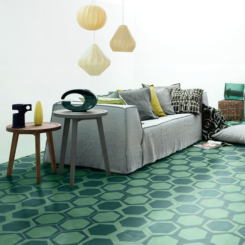 hexagonal encaustic cement tile / indoor / floor / wall