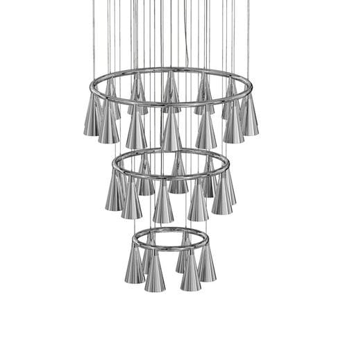 contemporary chandelier / chrome / blown glass / LED