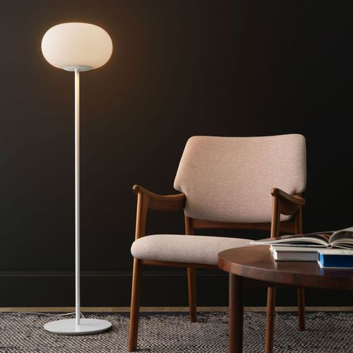floor-standing lamp / contemporary / metal / blown glass