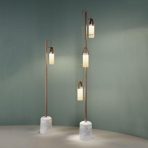 floor-standing lamp / contemporary / metal / glass