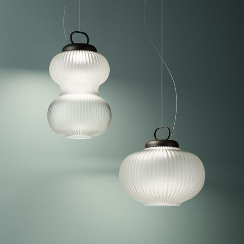 pendant lamp / traditional / metal / blown glass