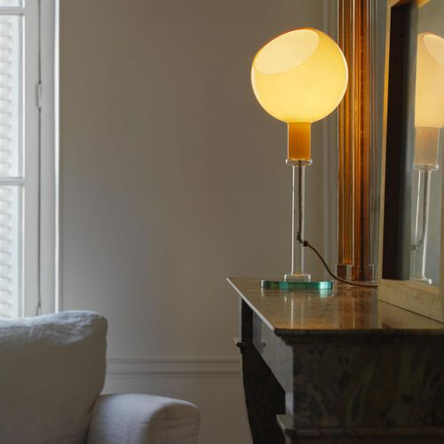 table lamp / contemporary / blown glass / halogen