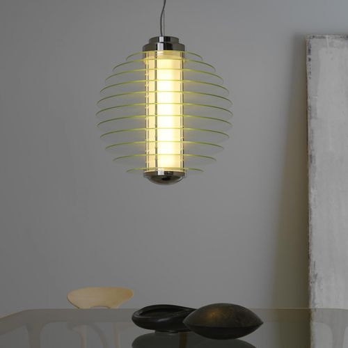 pendant lamp / original design / glass / compact fluorescent