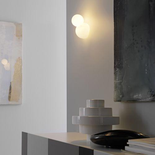 contemporary wall light / blown glass / halogen / round