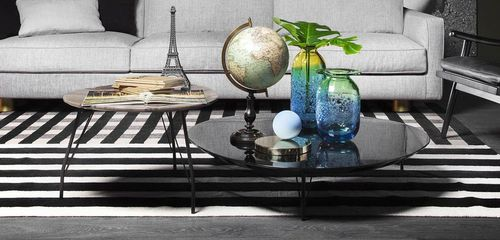 contemporary coffee table / wooden / painted metal / marble