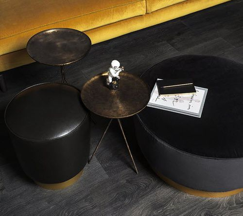 contemporary side table / brass / round