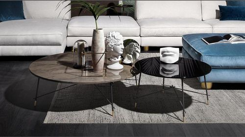 contemporary coffee table / glass / marble / round