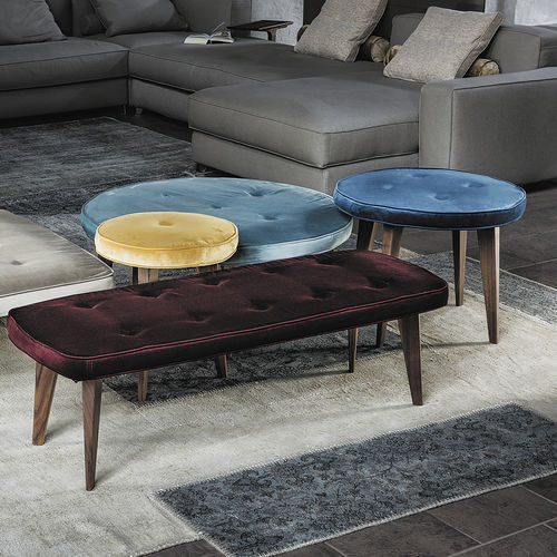 contemporary ottoman / fabric / wooden / indoor
