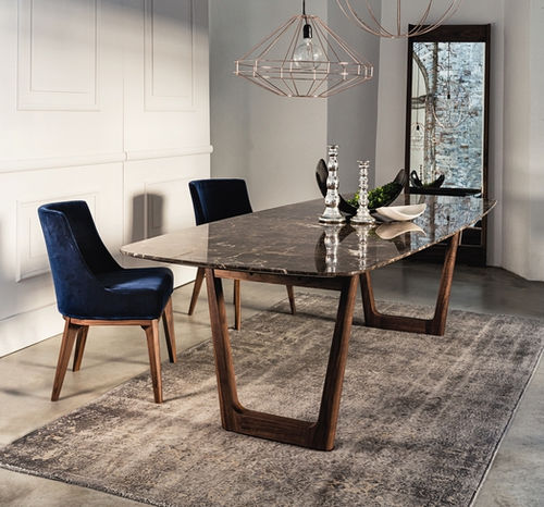 contemporary dining table / walnut / marble / rectangular