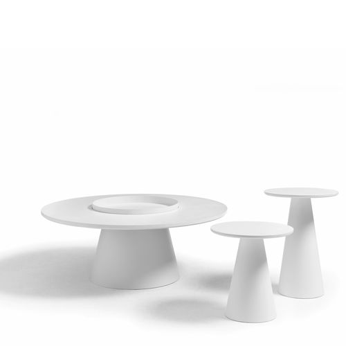 contemporary side table / solid wood / MDF / round