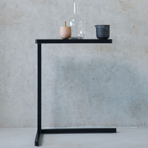 contemporary side table / metal / rectangular / round