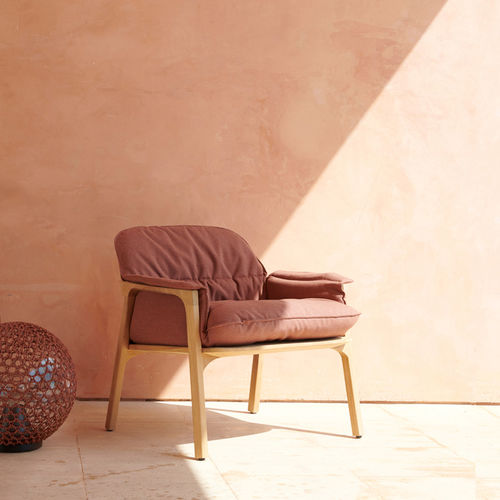 contemporary armchair / fabric / teak / with armrests
