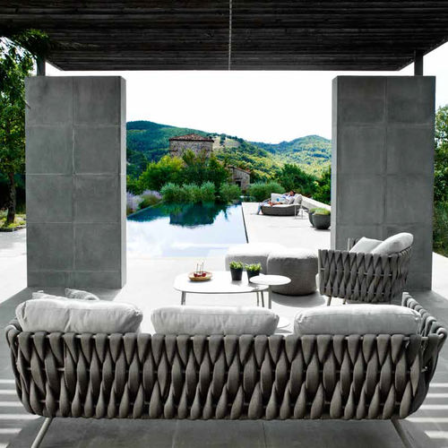 contemporary sofa / garden / Batyline® / stainless steel
