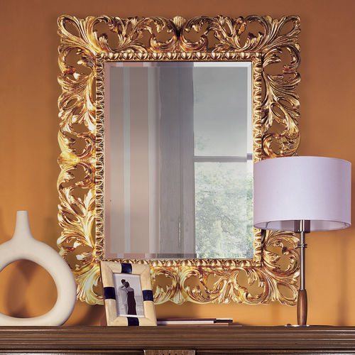 wall-mounted mirror / traditional / rectangular / wooden