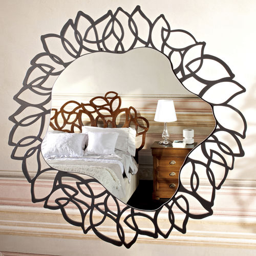 wall-mounted mirror / contemporary / wooden / black