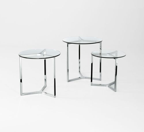 contemporary side table / glass / aluminum / stainless steel