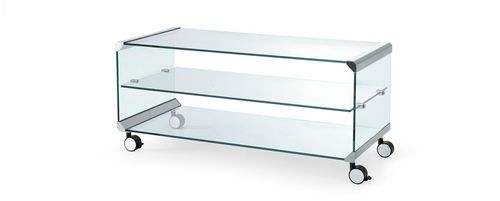 contemporary coffee table / glass / tempered glass / stainless steel