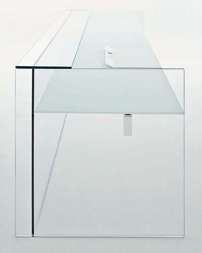 stainless steel reception desk / glass